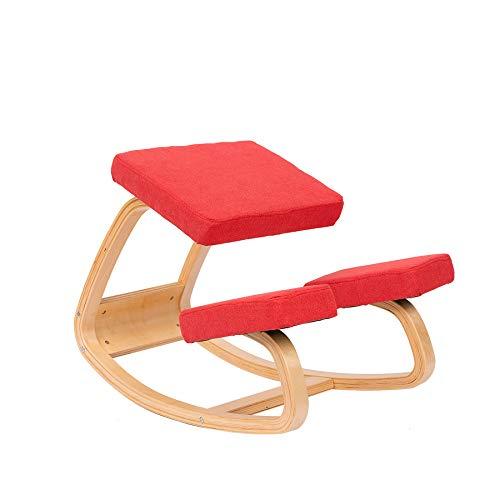 JZGORC Sedia Ergonomica in Ginocchio - Sgabello in Ginocchio per una Postura Migliore - Ottima Sedia da Ufficio o da Scrivania - Sedile più Grande, Cuscini per le Ginocchia (Rosso)