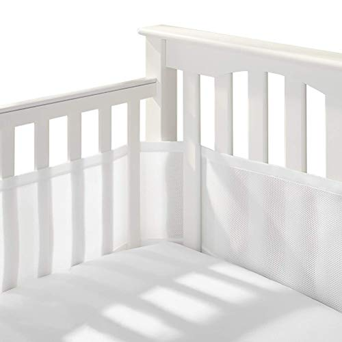 Oyria Juego de 2 protectores de malla transpirable para cuna de bebé, malla de aire fácil, juego de forro de cama para cuna, protector de seguridad para cama de bebé