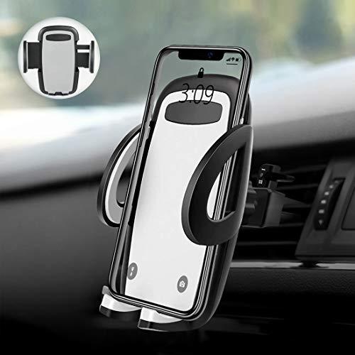 Soporte Movil Coche, POOPHUNS Soporte Coche, Soporte Magnético Universal, 360° Rotación, Rejillas del Aire, Tamaño Ajustables, Compatible con iPhone Samsung Xiaomi Huawei y Dispositivos GPS