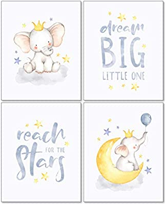 Confetti Fox Elephant Dream Big Baby Nursery Wall Art Decor - 8x10 Unframed Set of 4 Prints - Gender Neutral Boy Girl Lullaby Twinkle Star Moon Quotes