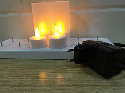 Jnyyjc Luz de Las Velas Velas LED Recargable luz de Las Velas de té de la lámpara/Velas Decorativas for la Boda (Color : EU Plug Set of 12)
