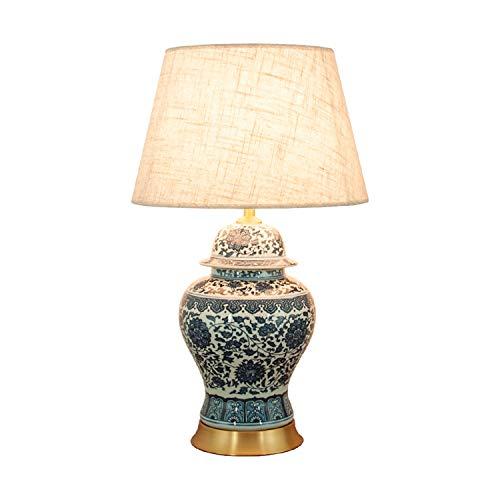 XZGang Dormitorio lámpara de Mesa, Azul y Base de lámpara de Mesa de Porcelana Blanca lámpara de Mesa Chino Retro de Pantalla de la Tela/Cobre Robusta lámpara de Mesa casa