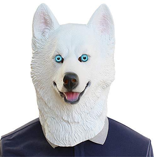 JOMSK Mscara de ltex de horror para fiestas de Halloween, mscara de ltex con diseo de leopardo de nieve, perro y perro (color de foto, tamao: M)