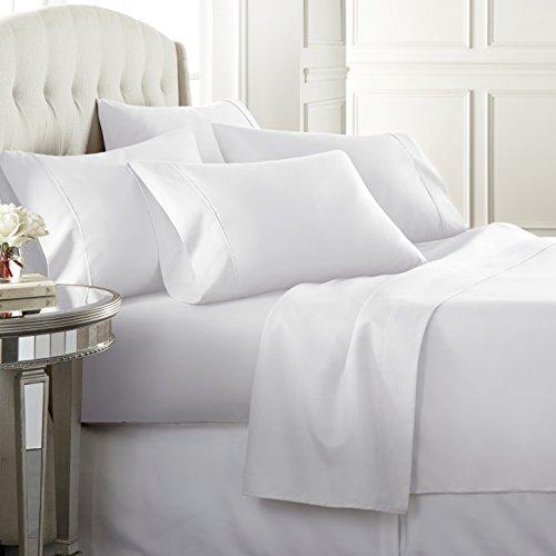 Danjor Linens 6 Piece Hotel Luxury Soft 1800 Series Premium Bed Sheets Set, Deep Pockets, Hypoallergenic, Wrinkle & Fade Resistant Bedding Set(King, White)