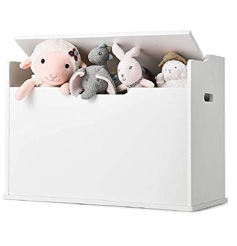 Costzon Wooden Toy Chest, 2 in 1 Toy Box and Storage Chest with Seating Cushion, Finger-Pinch Prevention Toy Storage Case with Seating Bench, Lift-Top Storage Chest for Bedroom/Living Room (White)