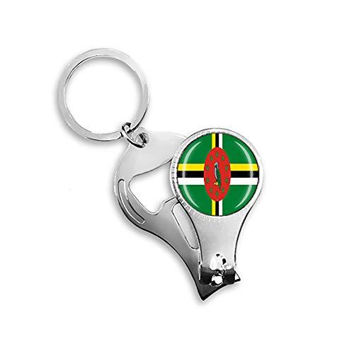 Dominica Flagge Bierflaschenöffner Nagelknipser Metall Glas Kristall Schlüsselanhänger Reise Souvenir Geschenk Schlüsselanhänger Zubehör
