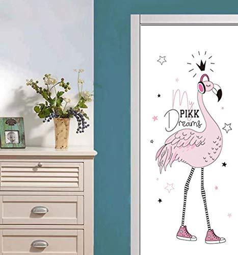 Muursticker Home Art 3D Deur Stickers Koptelefoon Struisvogel Afbeelding, DIY Art Creatieve Decoratieve Behang Poster Vinyl Sticker, Waterdichte Afneembare 77X200Cm