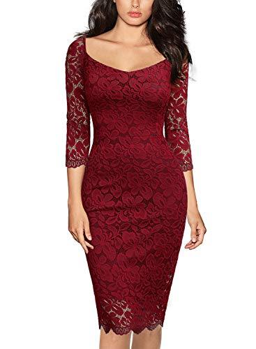 MIUSOL Vintage Encaje Floral Lápiz Fiesta Vestido para Mujer Rojo Large