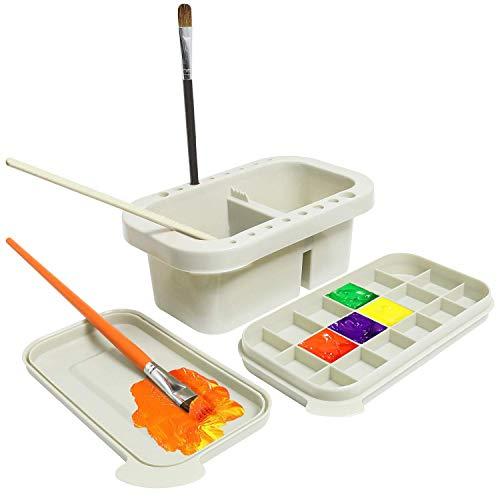 Pinselreiniger Pinselwascher mit Pinselhalter Mischpalette und Wassertröge für Drinnen und Draußen Malerei
