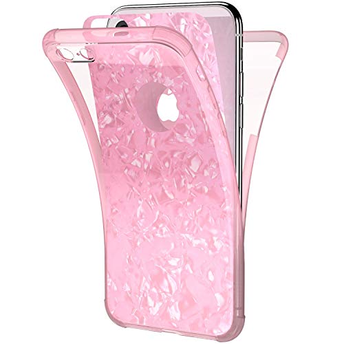 Ysimee Coque Compatible pour iPhone 7/8 360 Degrés Étui en Transparente Silicone Double Face Couverture Protection Complète Avant et Arrière Antichoc Bumper Ultra Slim Housse Motif Coquillage,Rose