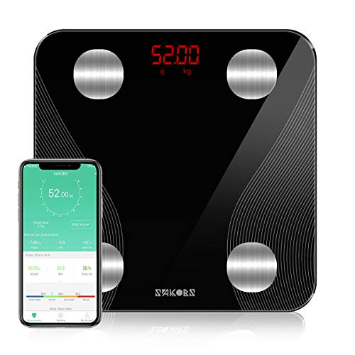 Sakobs Körperfettwaage,Digital Personenwaagen Bluetooth Körperanalysewaage mit App Smart Waage für Körperfett, BMI, Muskelmasse, Protein, BMR, Schwarz