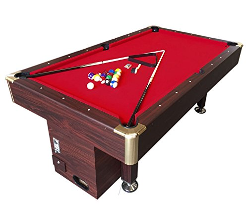 Mesa de billar juegos de billar pool 7 ft Modelo ARES Rojo Medición de 188 x 94 cm carambola con...