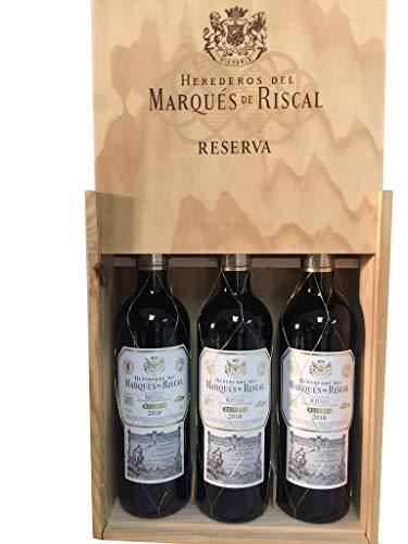 Caja de madera 3 botellas - Márques de Riscal Reserva 2015 - Vino tinto