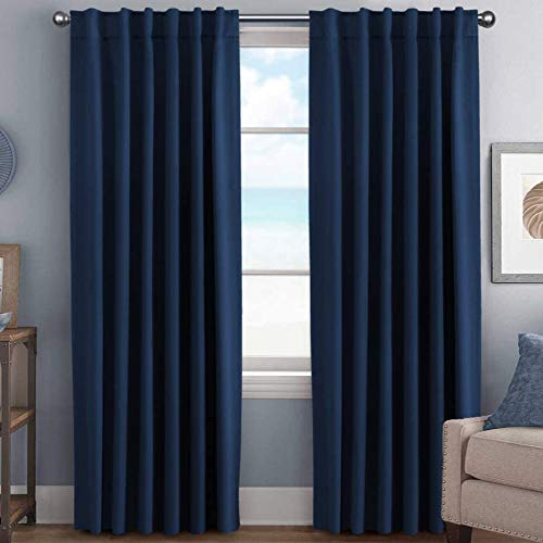 H.VERSAILTEX Blackout Curtains Thermal Insulated Window Treatment Panels Room Darkening Blackout Drapes for Living Room Back Tab/Rod Pocket Bedroom Draperies, 52 x 96 Inch, Navy Blue, 2 Panels