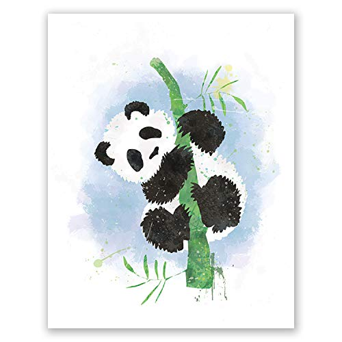 PGbureau Panda Poster - Watercolor Inspired Nursery Design - Cool Posters for Boys and Girls - for Birthday (8x10)