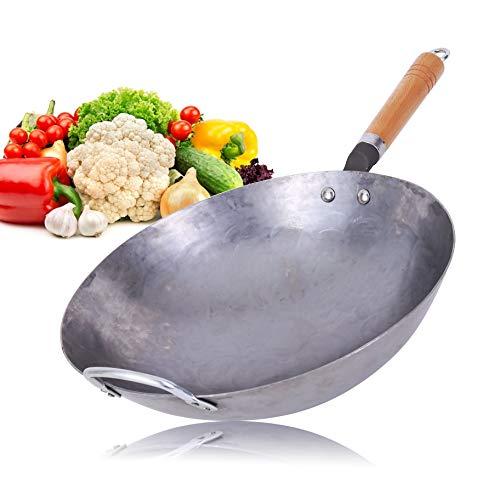 Wok Pan in acciaio al carbonio Pow Wok fatto a mano grande Wok e manico in legno antiaderente wok cucina pentole (30,5 cm)