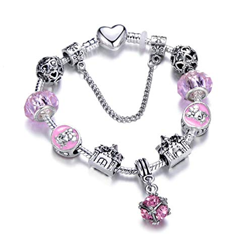 PmseK Pulsera de Moda,Pulsera de Curación Luxury Animal Charm Bracelets & Bangles Women Jewelry Minnie Pink Bow-Knot Pendant Brand Bracelet DIY Handmade For Girl Gift Antique Silver Plated 20cm