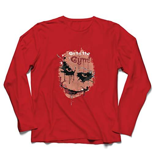 lepni.me Camiseta de Manga Larga para Hombre IR al Gimnasio Asustado Cara de Payaso (X-Large Rojo Multicolor)