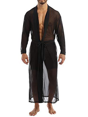 MSemis Bademantel Herren Transparent Kimono sexy Morgenmantel Langarm Nachtwäsche Pyjamas mit Gürtel Erotik Dessous Reizwäsche Schwarz M