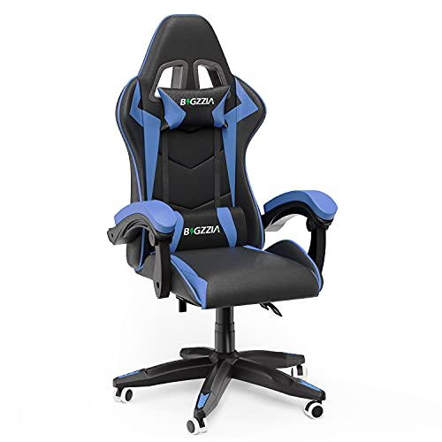Gaming Chair Office Chair Desk Chair Swivel Heavy Duty Chair Ergonomic Design with Cushion and Reclining Back Support (Blue and Black)
