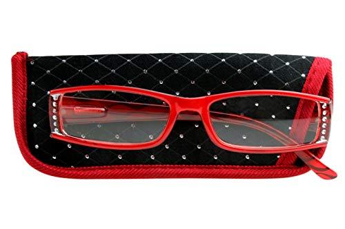 Designer Leesbril voor dames rood glanzend met strass steentjes, lente scharnier riem, case ook set met strass steentjes 1.0 1.5 2.0 2.5 3.0 Dioptrien 1.0