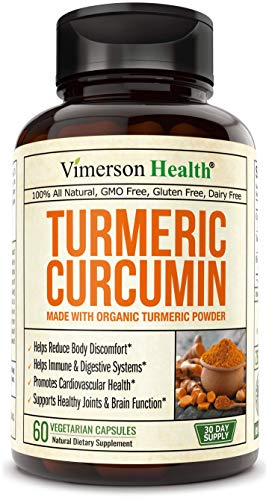 Turmeric Curcumin 1400 mg with BioPerine Black Pepper Extract and Organic Turmeric Powder for Better Absorption, 95% Curcuminoids Supplement. Joint Support, Healthy Inflammatory Response 60 Capsules