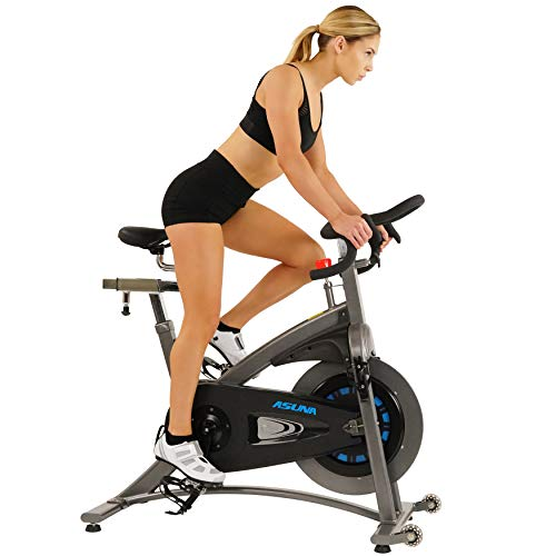 Sunny Health & Fitness Asuna 5100 Magnetic Resistance Silent Belt Drive Indoor Cycling Bike with 38 LB Flywheel, 300 LB Max Weight and Dual Caged/Clipless (SPD Style) Pedals