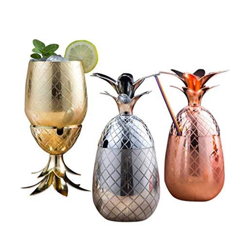 CHUN LING Licuadora de Vaso de cóctel de Acero Inoxidable 3 Piezas, Kit Moderno de coctelera de Ron Medieval, Tazas de Cobre en Forma de piña, adecuadas para Cerveza fría
