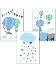 PREMYO Obrazy do pokoju dziecięcego dekoracja chłopcy - balon na gorące powietrze zestaw plakatów do pokoju dziecięcego - obrazy ścienne sypialnia chmurka niebieski A4