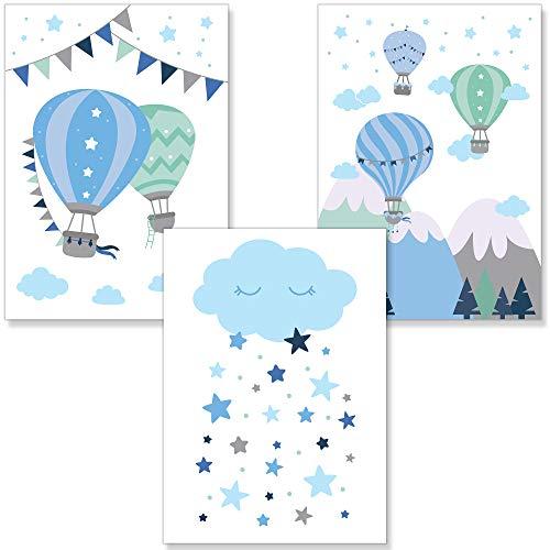 PREMYO Cuadros Infantiles Habitación Niños - Láminas Decorativas para Enmarcar - 3 Póster Globo Aerostático Nube Azul A4