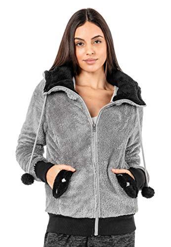 Sublevel Damen Fleece Jacke Panda Style mit Öhrchen und Panda Gesicht, Middle Grey, XL