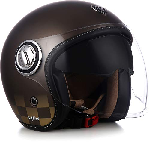 "SOXON® SP-888 ""Bronze"" · Jet-Helm · Motorrad-Helm Roller-Helm Scooter-Helm Moped Mofa-Helm Chopper Retro Vespa Vintage Pilot · ECE 22.05 Sonnenvisier Schnellverschluss SlimShell Tasche L (59-60cm)"