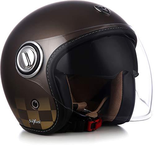 "SOXON® SP-888 ""Bronze"" · Jet-Helm · Motorrad-Helm Roller-Helm Scooter-Helm Moped Mofa-Helm Chopper Retro Vespa Vintage Pilot · ECE 22.05 Sonnenvisier Schnellverschluss SlimShell Tasche XL (61-62cm)"