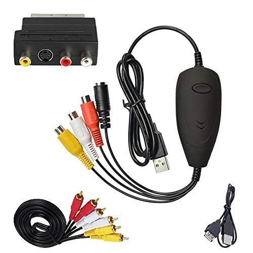 Capturadora de Video, USB 2.0 Convertir VHS VCR a DVD Reproductor VHS a Digital Pasar VHS a PC, Convertidor de Audio Video Adaptador SCART a RCA S-Video Windows 7 8 10 XP Vista 32 64