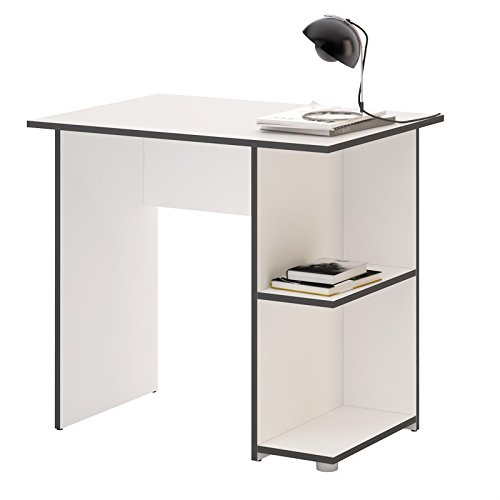 CARO-Möbel Schreibtisch Computertisch Kinderschreibtisch Kuba in weiß/grau, mit 2 Ablageflächen, 82 x 76 x 60 cm, Bürotisch