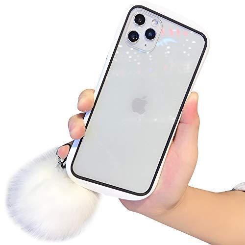 Aulzaju iPhone 11 Hülle für iPhone 11, Vorder- und Rückseite, stylisch, modisch, Hartglas mit weichem Plüschball für Mädchen und Frauen iphone 11 pro max 6.5 inch weiß