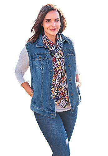 Woman Within Women's Plus Size Stretch Denim Vest - 20 W, Light Stonewash