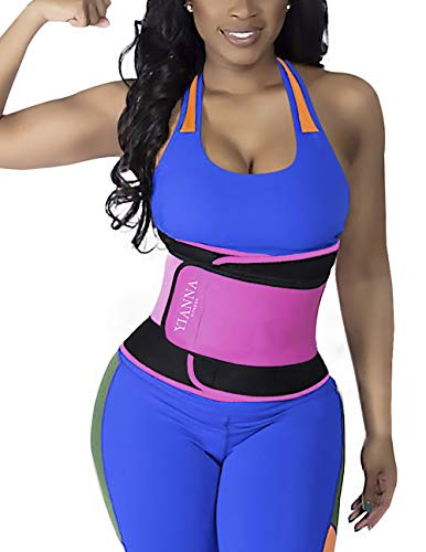 YIANNA Waist Trainer Slimming Body Shaper Belt - Sport Girdle Waist Eraser Trimmer Compression Belly Weight Loss Fitness Tummy Control, YA8011-Rose-S