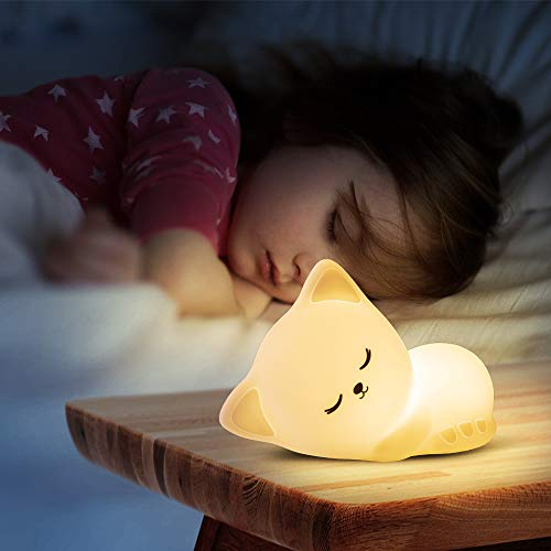 Kitty Night Light Cute Lamp with Tap Control,Cat Nursery Nightlight for Kids Baby Toddler,Kawaii...