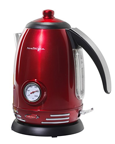 Nostalgia RWK150 Retro Stainless Steel Electric Water Kettle, Holds 1.7 Liters, Auto-Shut Off & Boil-Dry Protection, 360…