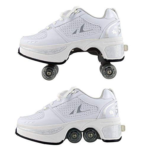 FTYUNWE Inline-Skates Mädchen Rollschuhe Damen,Lauflernschuhe Sneakers Skateboardschuhe Kinder Mit Rollen Multifunktionale Deformation Schuhe Beste Wahl,White-39