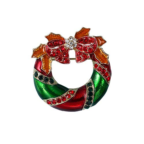 Bleyoum Brooch Green and Red Rhinestones and Enameled Circle Bow Christmas Brooch Pins