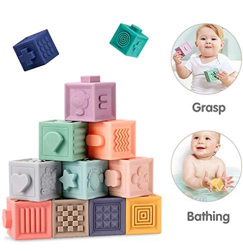 TheoToys 12 pcs Baby Rattles Soft Grasp Sensory Ball Building Blocks 3D Massage Rubber Teethers Squeeze Bath Toys