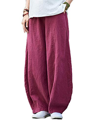 Shaoyao Mujer Pantalones de Lino Pantalón Bombachos Harem de Yoga Pantalones Casuales Vino Rojo