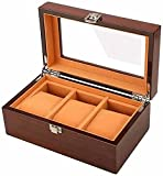Elegante caja de almacenamiento de reloj 3 ranuras caja de visualización de reloj caja de joyería organizador caja de reloj