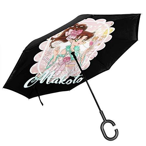 Sailor Jupiter AKA Makoto Kino en kimono paraguas invertido de doble capa para coche invertido plegable boca abajo manos en forma de C, ligero y resistente al viento – Regalo ideal