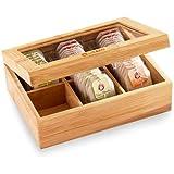 Caja para Infusiones de Bambú. Caja para almacenar té e Infusiones con 6 Grandes Compartimentos. Almacena y Conserva tus Infusiones. Tapa transparente.