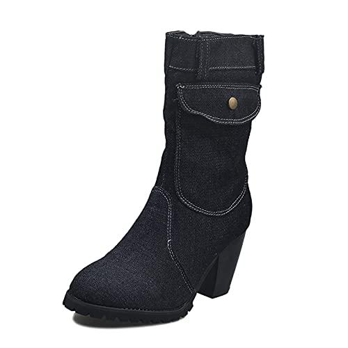 Women's Boots High Heel Denim Mid-Calf Zipper Large Size Boots with Pocket