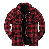 Veste à carreaux Sherpa pour homme - Doublure polaire - Manches longues - Fermeture éclair - Décontractée - Hiver - Rouge - XL