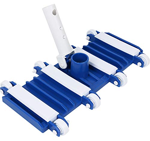 Greenco GRC7649 Flexible Weighted Swimming Pool Vacuum Head with Wheels, Blue